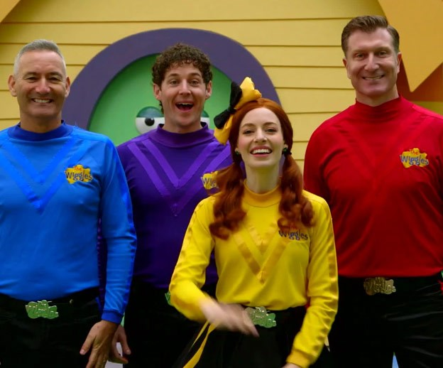 The current-day incarnation of The Wiggles: Anthony Field, Lachlan Gillespie‎, Emma Watkins and Simon Pryce.