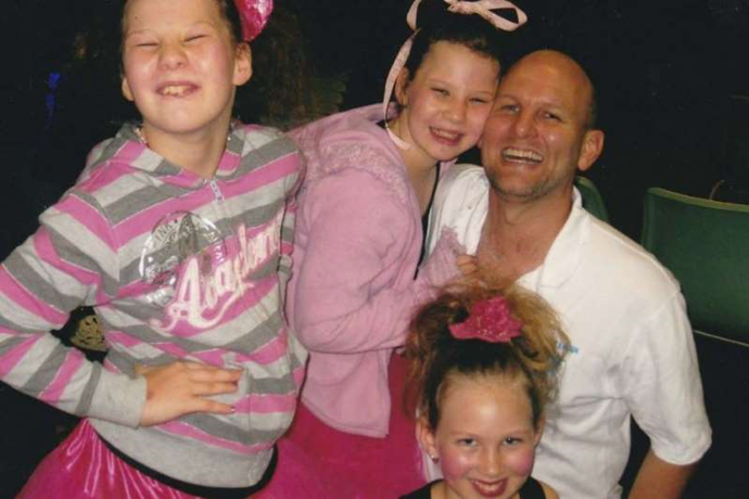 Matt with daughters, Sage, Willow and Starlia. Image: ABC News