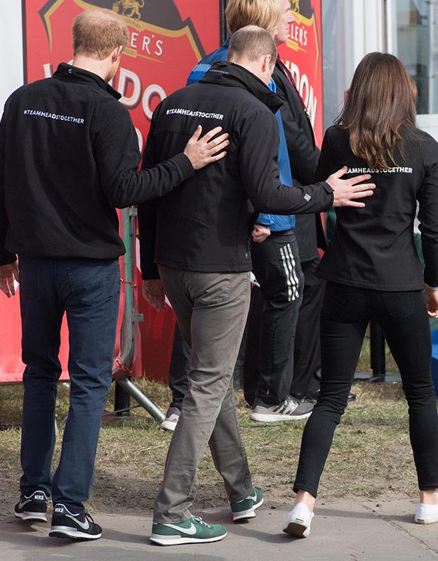 Prince Harry teasing his brother and Kate.