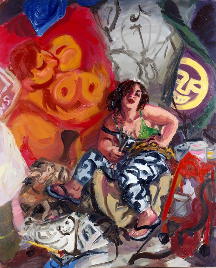 Archibald Prize 1996 winner Wendy Sharpe 'Self-portrait as Diana of Erskineville' 1996  Collection of King St on Burton Gallery, Sydney © Wendy Sharpe. Licensed by Viscopy, Sydney.  Photo: Art Gallery of NSW