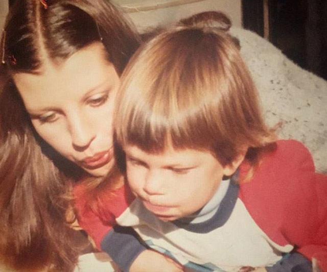 A young Sam with his mum Wendy.