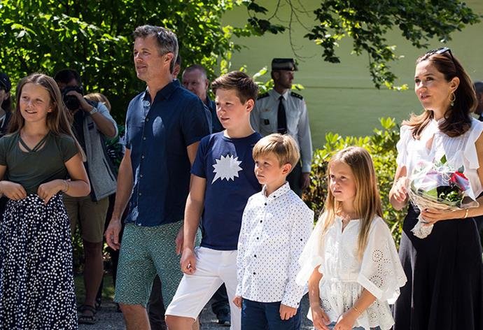 The Danish Royal Family, in full! (L-R) Isabella, Fred, Christian, Vincent, Josephine and Australian-born Mary.