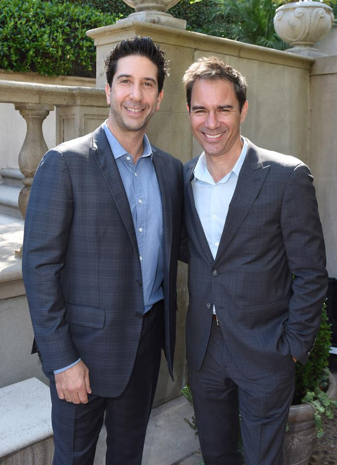 David Schwimmer with *Will & Grace* star Eric McCormack.