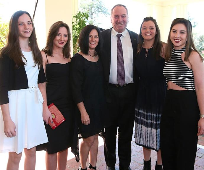 Natalie, Barnaby and their daughters Bridgette, Odette, Caroline and Julia in 2015.