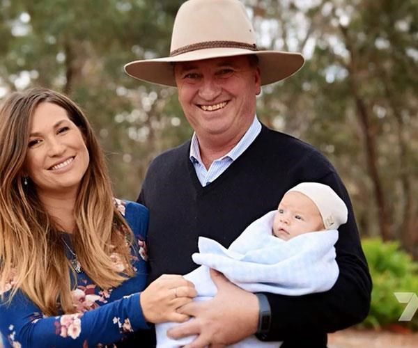 Vikki, Barnaby and Sebastian pose for their first family portrait together, during their interview with *Sunday Night*.