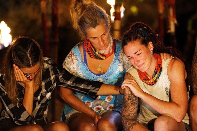 Jenna is comforted at her final tribal council by Anita and Tegan.