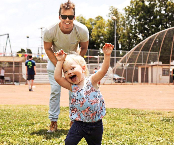 """""""She is unstoppable, a force to be reckoned with"""". Todd with daughter Charlie Rose."""