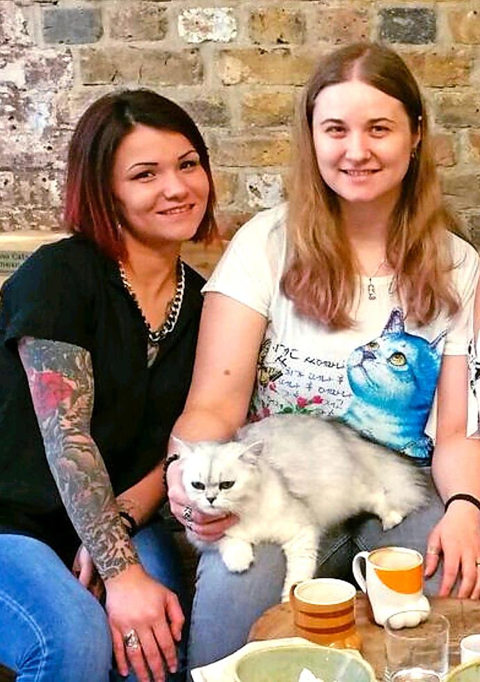 """The two of us"" Claudia and Flo at London's cat cafe. **Pictures exclusive to Take 5**"
