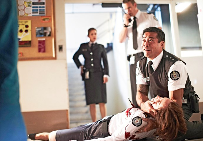 Meg (Catherine McClements) is killed in a prison riot, witnessed by husband Will (Robbie Magasiva).