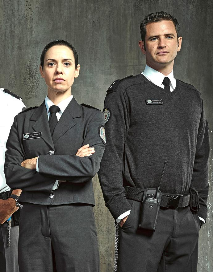 Governor Vera (Kate Atkinson) and guard Jake (Bernard Curry) form a romantic bond.