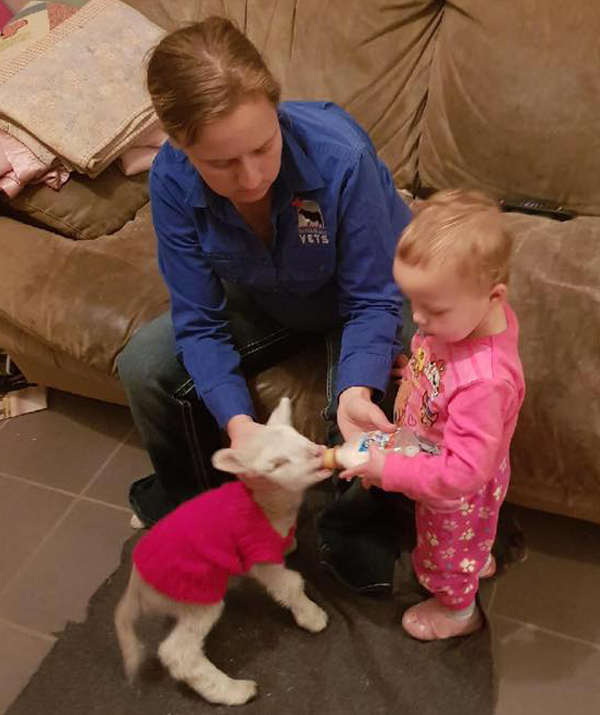 Vet nurse Jo Elliott and daughter Lizzie lend a hand.