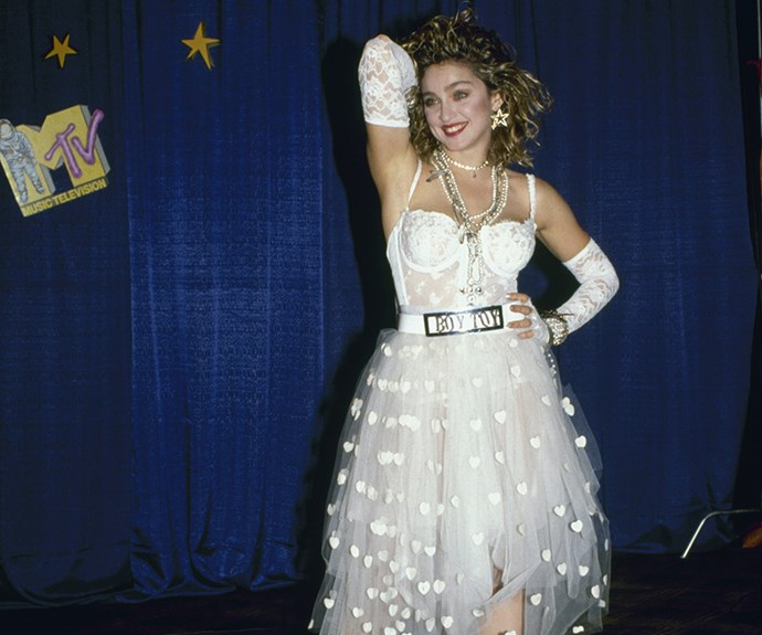 Dressed in white...like a virgin! Madonna wore this iconic ensemble at the 1984 MTV Video Music Awards.