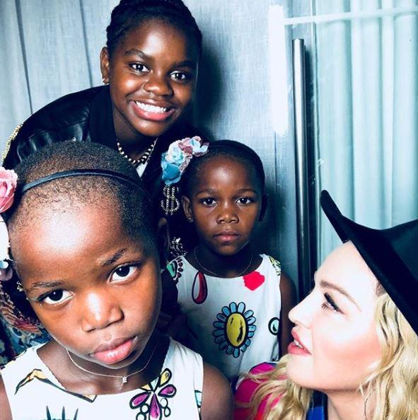 The pop icon shared a snap of daughters Mercy James, 12, and five-year-old twins Estere and Stella for Mother's Day 2018.