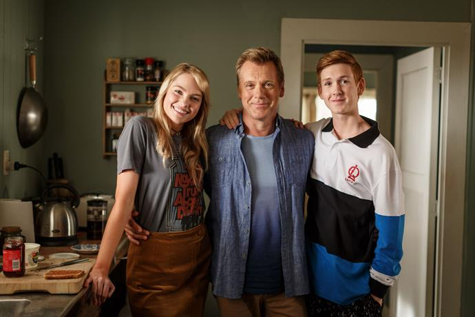 Eric with his on screen family Shay (Melina Vidler) and Arlo (Benson Jack Anthony).