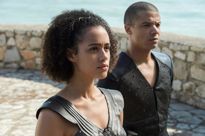 Missandei (Nathalie Emmanuel) and Grey Worm (Jacob Anderson) in *Game of Thrones.*