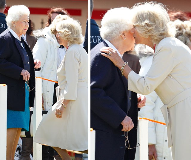 One present-day Queen, one future Queen: Duchess Camilla says hello to her mother-in-law with a bob and a kiss.