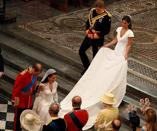 "Double act: In 2011, Duchess Catherine was assisted by her bridesmaid and sister [Pippa Middleton](https://www.nowtolove.com.au/tags/pippa-middleton|target=""_blank"") during the historical moment."