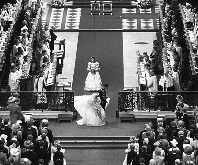 As per tradition, royal brides are expected to curtsy on their wedding day to the queen. Here, Princess Diana and Prince Charles show their mark of respect to The Queen in 1981.