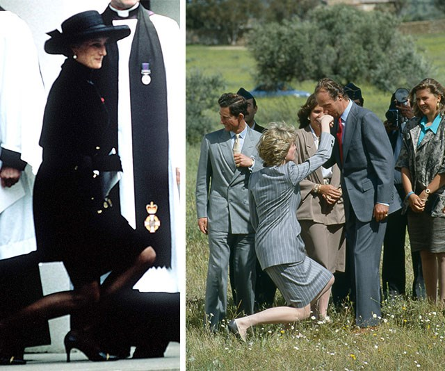 Former ballerina Princess Diana had it mastered! (L-R) Princess Diana curtsies to The Queen at the funeral of her father, Earl Spencer, in 1992 and the Princess of Wales greets King Juan Carlos of Spain, who kisses her hand, in 1987.