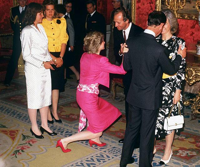 Prince Charles and Princess Diana with Prince Juan Carlos and Queen Sofia during the royal tour of Spain in 1987.