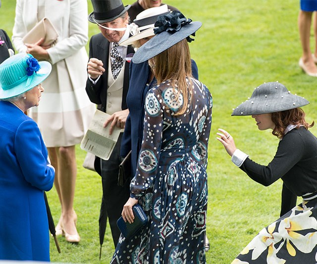 Hello, granny! Princess Eugenie spices up her curtsy with a wave.