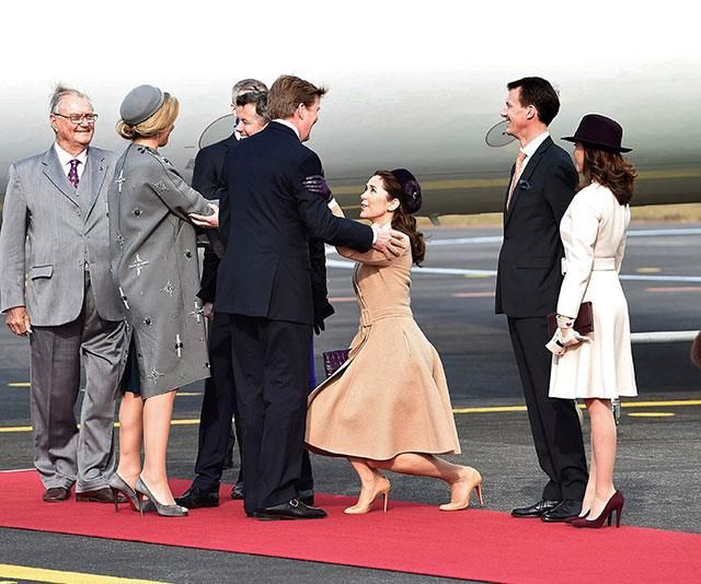 She's practically on the ground as she welcomes Queen Maxima of the Netherlands to Denmark in 2015.