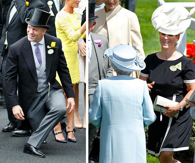 Who says men can't get their curtsy on? While royal protocol dictates only women need to perform the gesture, Zara Tindall's husband Mike gave it a go at Royal Ascot in 2015.