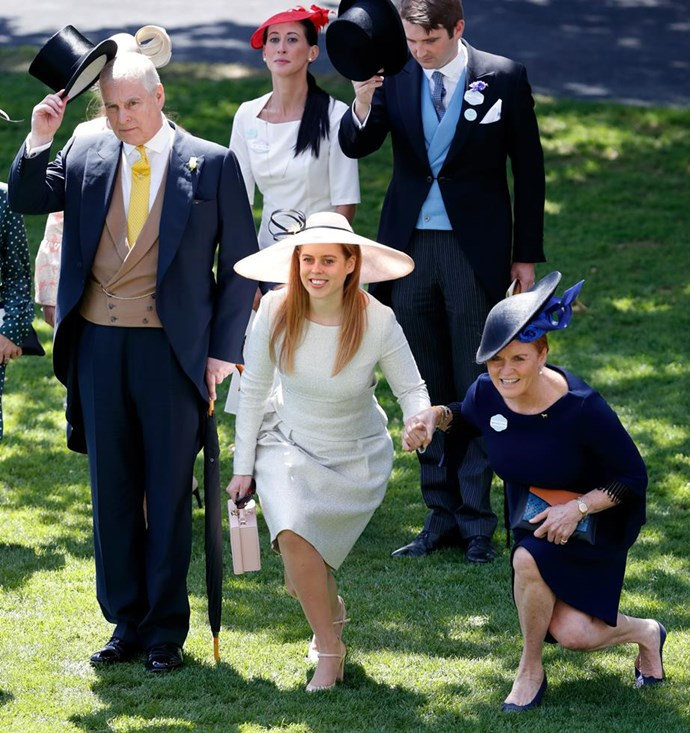 "Sarah Ferguson shows off her impressive core strength alongside daughter Princess Beatrice and ex-husband Prince Andrew at this year's [Royal Ascot.](https://www.nowtolove.com.au/royals/british-royal-family/royal-ascot-fashion-49315|target=""_blank"")"