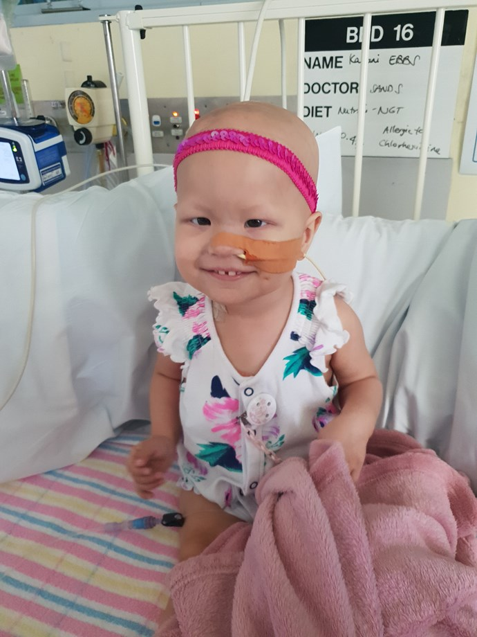 "Little Kalani's mum noticed something was wrong when she would pick her up and her head would tilt to the left. Read her story [here](https://www.nowtolove.com.au/health/body/brain-cancer-baby-50495|target=""_blank"")."