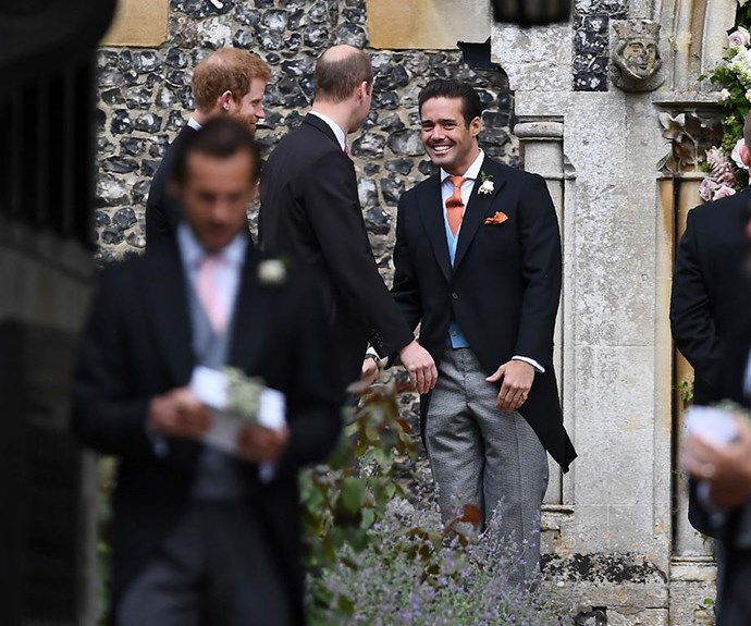 Spencer Matthews greets Prince Harry and Prince William at his brother's wedding to Pippa Middleton.