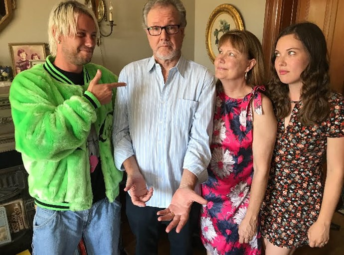 Jesse with his dad, mum Melissa and sister Kit.