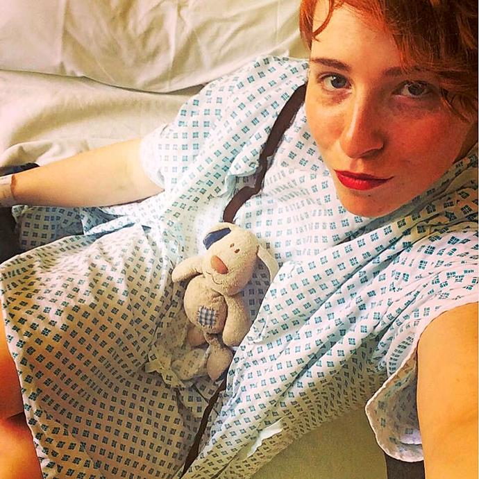 Madison in hospital battling stage three breast cancer. ***Pictures exclusive to Take 5.***
