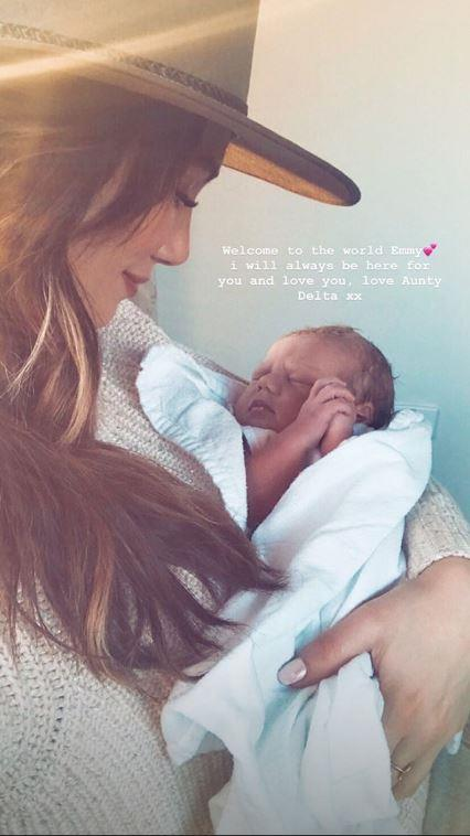 """Welcome to the world Emmy. I will always be here for you and love you, love Aunty Delta,"" writes the singer."