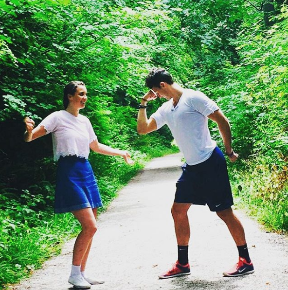 """Back in 2015, Benji shared this funny snap with his sister.  """"My little sister came to visit me from Melbourne! We took an awesome sibling stroll through Stanley Park in Vancouver,"""" he wrote."""