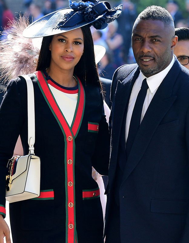 Idris with his fiancée Sabrina Dhowre at Prince Harry and Duchess Meghan's royal wedding.