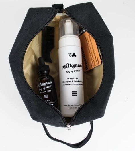 "This beard care kit contains three items for the Dad who wants to keep his beard looking fresh, including beard shampoo and conditioner,  beard oil, Mini Styler pocket comb and more! [The Milkman Grooming Beard Kit](https://www.hardtofind.com.au/137379_milkman-essentials-beard-care-kit-with-dopp-bag-king-of-wood-scent|target=""_blank""