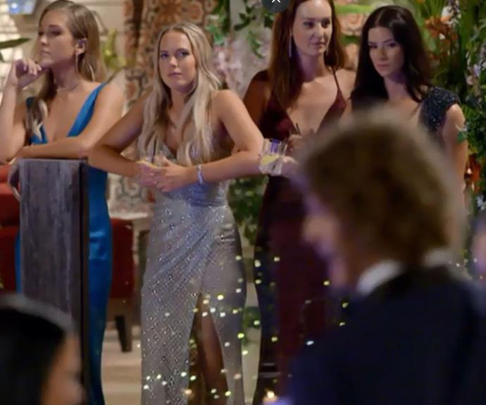 Labelled a 'stage five clinger' by fans, Cass become so intensively nervous during the cocktail party, the girls began to get distracted