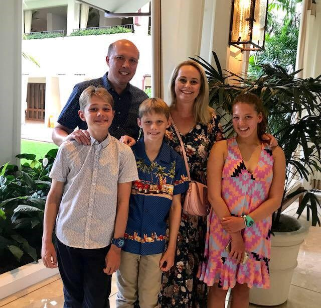Dutton with his wife, Kirilly and his three children.