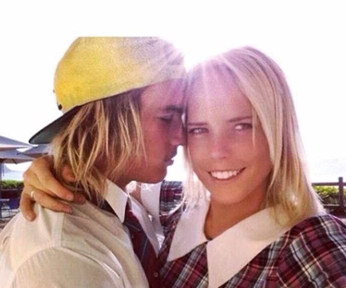 Cass with her ex-boyfriend in her Summer Bay uniform.