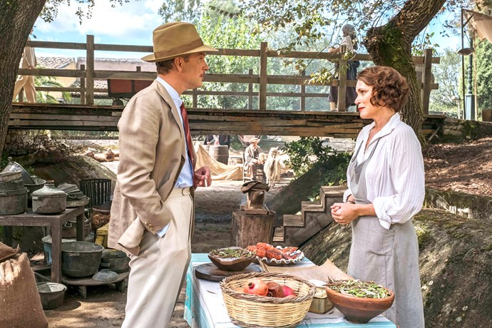 Daniel Lapaine and Keeley Hawes filming a scene from *The Durrells*.
