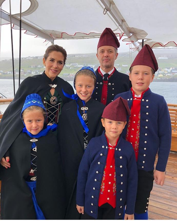 "On their [tour of the Faroe Islands](https://www.nowtolove.com.au/royals/international-royals/crown-princess-mary-danish-royal-family-faroe-islands-50814|target=""_blank""), the entire family donned traditional Faroe costumes."