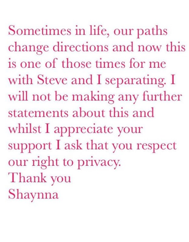 Shaynna announced her separation on Instagram.