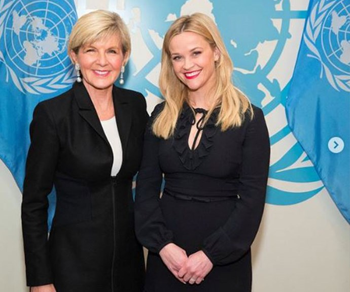 Julie Bishop and Reese Witherspoon at the United Nations International Women's Day delivering keynote on driving prosperity and indopacific female empowerment back in March.