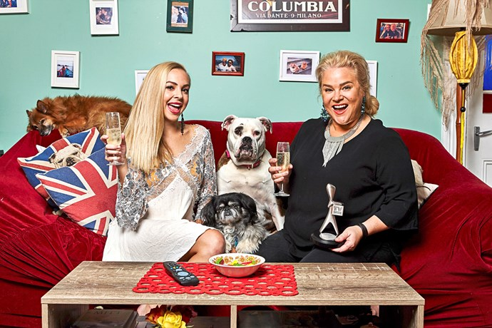 Angie (left) and Yvie celebrate their Logies win with some fluffy four-legged friends.
