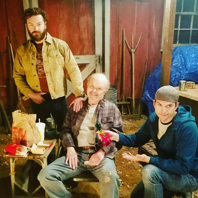 Some of the stars still stay in touch - Kurtwood Smith visits Danny Masterson and Ashton Kutcher on set of *The Ranch*.