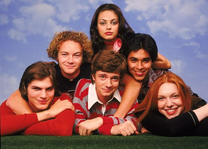The original cast: Ashton Kutcher,Topher Grace, Laura Prepon, Danny Masterson, Wilmer Valderrama and Mila Kunis.