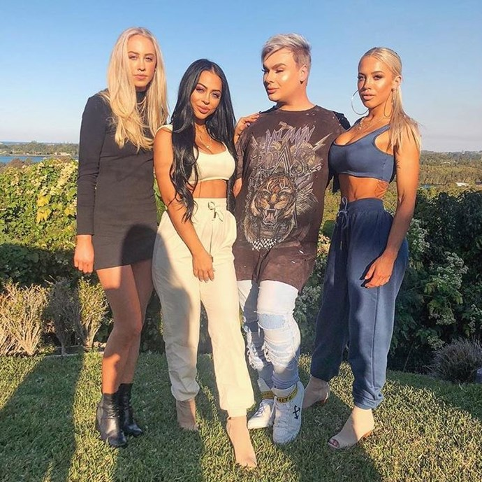 (From Left to right) Amy Hembrow, Emilee Hembrow, Makeup artist Michael Finch, and Tammy Hembrow.  *Image credit: Instagram*