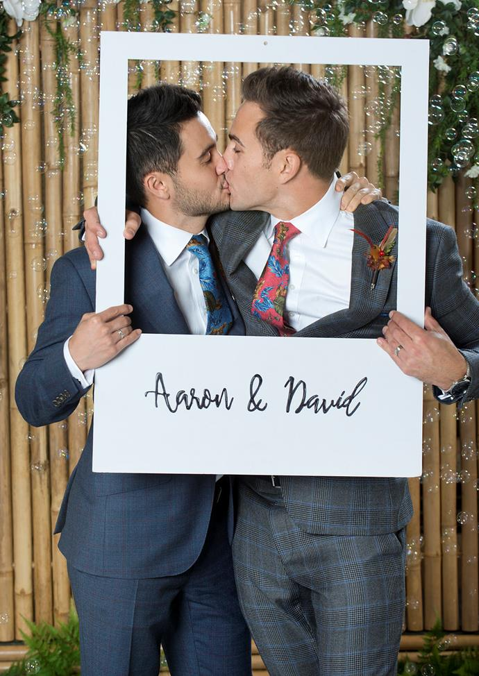 David and Aaron celebrate with one more smooch.