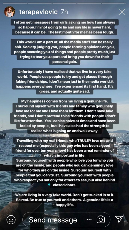 Tara's Instagram post.
