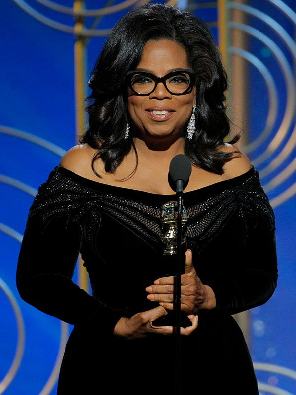 Oprah glowed at the Golden Globes.